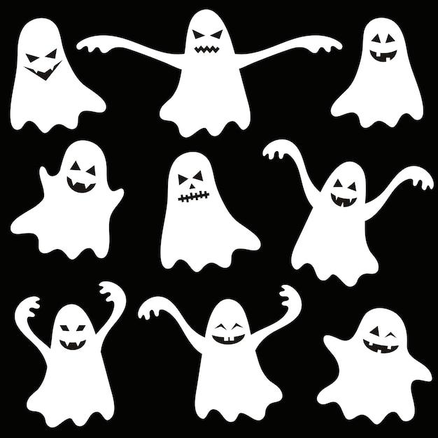 Satz lustige halloween-geister auf schwarzem hintergrund Premium Vektoren