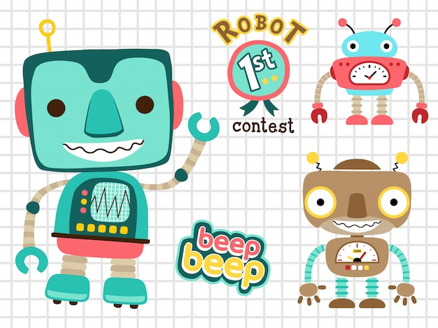 Satz lustige roboter-karikatur Premium Vektoren