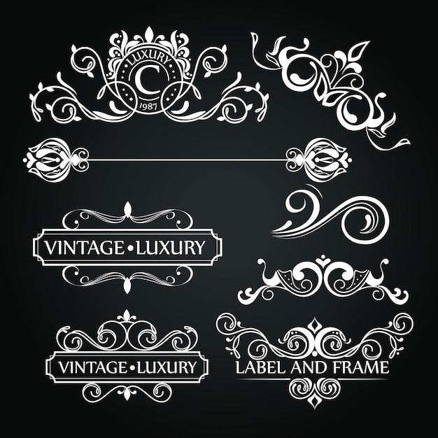 Satz luxusverzierungen für aufkleber oder logo Kostenlosen Vektoren