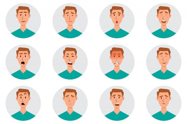 Satz männliche gesichtsgefühle. mann emoji charakter mit unterschiedlichen ausdrucksformen Premium Vektoren