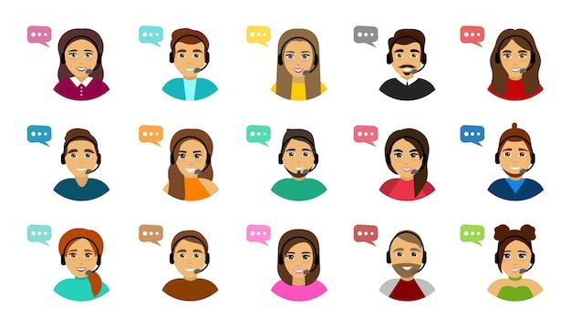 Satz männliche und weibliche callcenter-avatare. kundendienst. Premium Vektoren