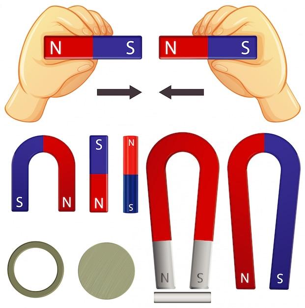 Satz magnete in verschiedenen formen auf weißem hintergrund Kostenlosen Vektoren