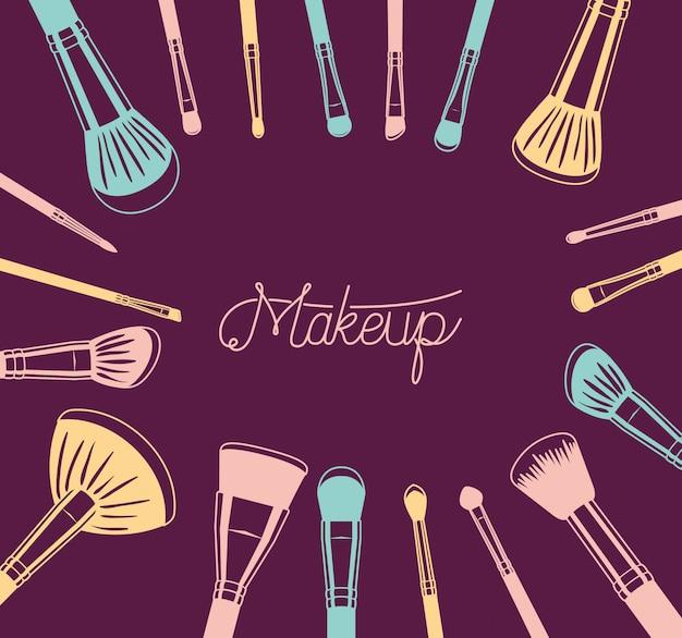 Satz make-upbürstenzubehör herum Kostenlosen Vektoren
