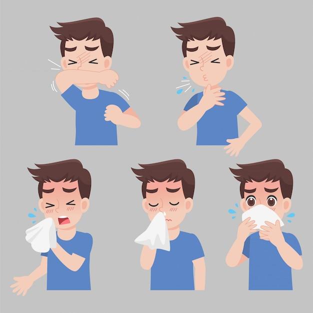Satz mann mit verschiedenen krankheitssymptomen - niesen, rotz, husten, fieber, krank, krank Premium Vektoren