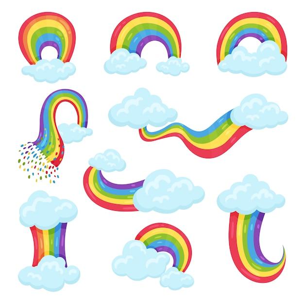 Satz mehrfarbiger regenbogen mit blauen, flauschigen wolken. dekorative wandaufkleber für kinderzimmer Premium Vektoren