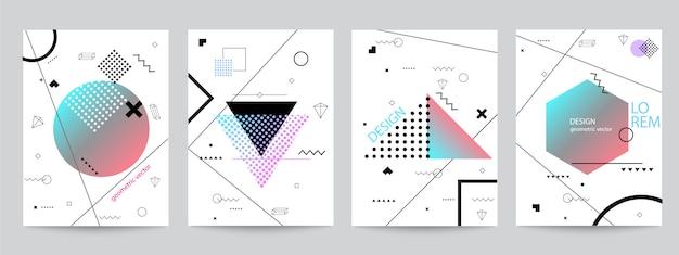 Satz memphis-hintergrundbühnenbild mit geometrischen formen Premium Vektoren