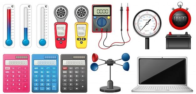 Satz messgeräte auf weiß Kostenlosen Vektoren