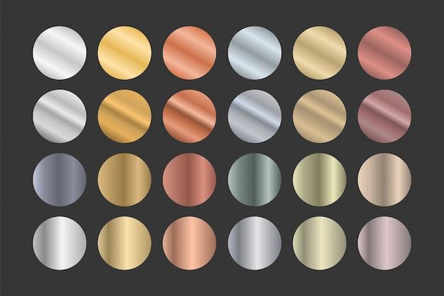 Satz metallischer farbverläufe. gold, silber und bronze. Premium Vektoren