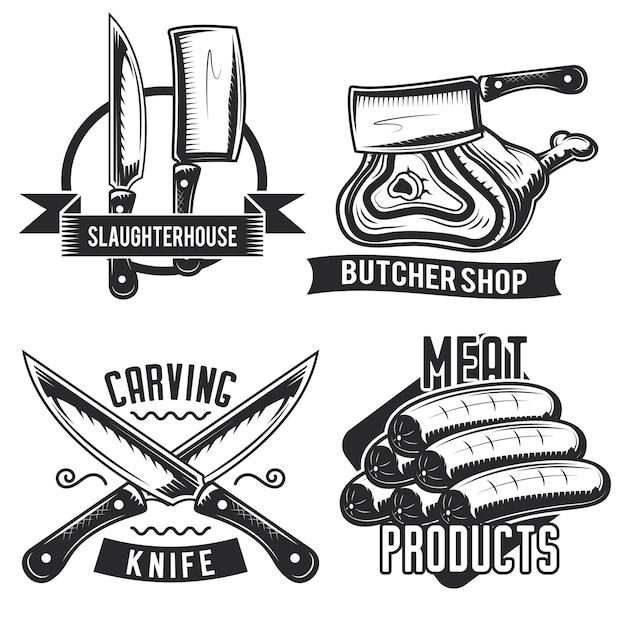 Satz metzger embleme, etiketten, abzeichen, logos. Kostenlosen Vektoren