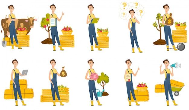 Satz mit landwirtcharakteren Premium Vektoren