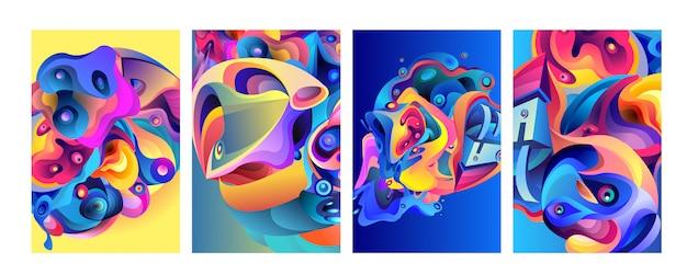 Satz moderner abstrakter bunter vektorplakathintergrund Premium Vektoren