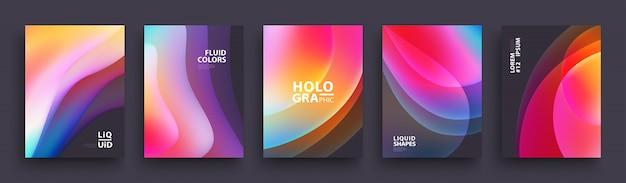 Satz modische holographische steigungsformen für darstellung Premium Vektoren