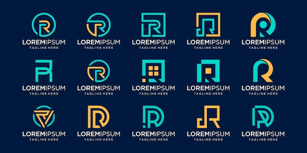 Satz monogramm anfangsbuchstabe r rr logo vorlage. ikonen für das geschäft von mode, geschäft, beratung, technologie digital. Premium Vektoren