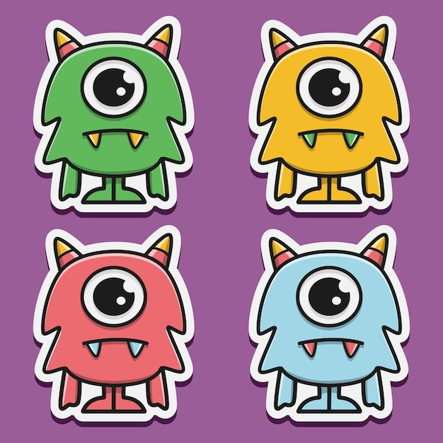 Satz monster cartoon doodle charakter Premium Vektoren