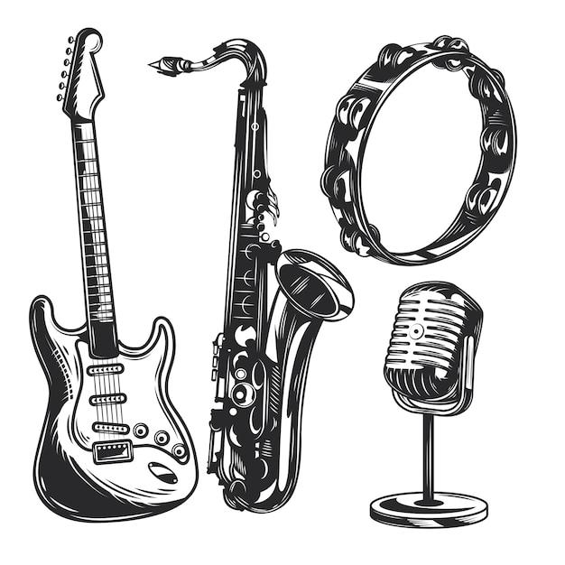 Satz musikinstrumente Kostenlosen Vektoren