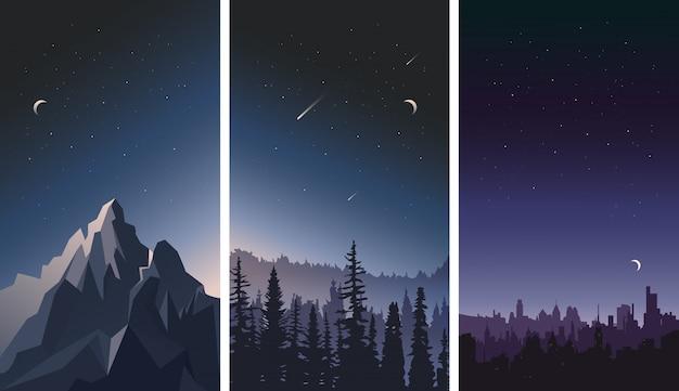 Satz nachthimmellandschaften. stadt, berge und wald vor dem hintergrund der sterne. Premium Vektoren