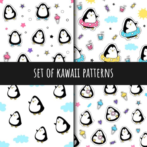 Satz nahtlose muster des vektors in der kawaii art Premium Vektoren