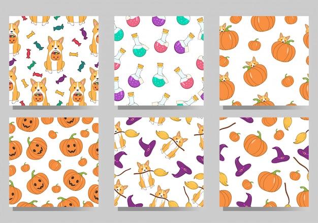 Satz nahtlose muster halloweens. cartoon niedlichen hund corgi waliser, süßigkeiten, kürbisse, hexenhut und gifte. Premium Vektoren