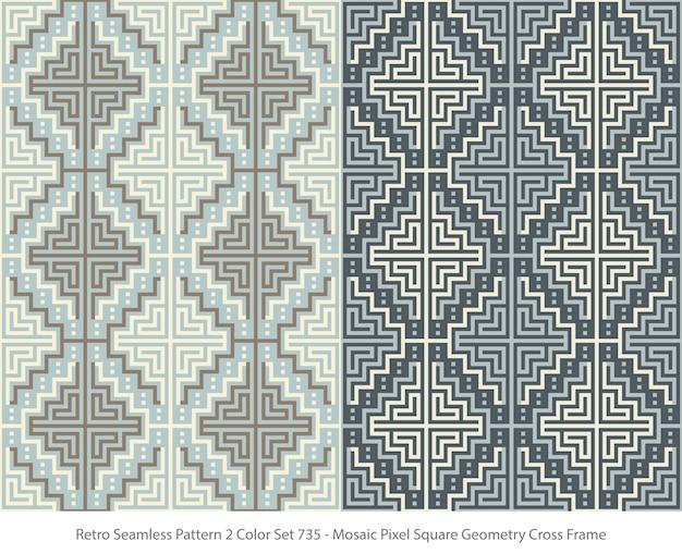 Satz nahtlose muster mit mosaic pixel square geometry frame Premium Vektoren