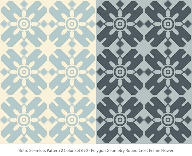 Satz nahtlose muster mit polygon-geometrie-rundrahmenblume Premium Vektoren