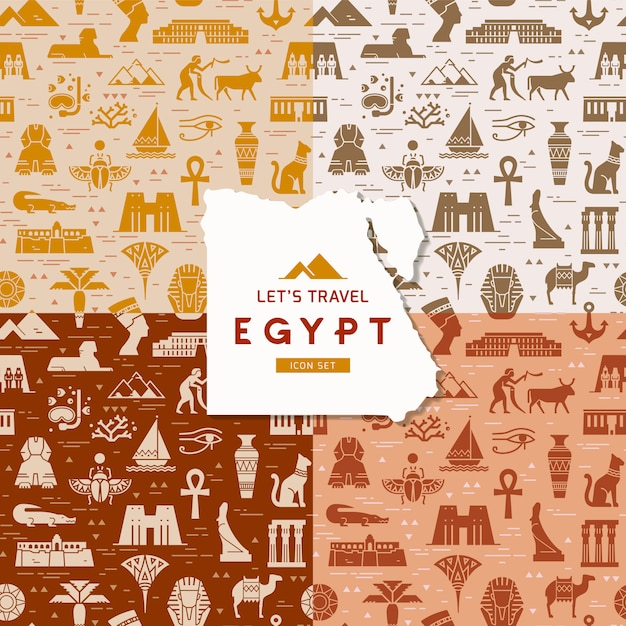 Satz nahtlose muster von symbolen, von marksteinen und von zeichen von ägypten Premium Vektoren