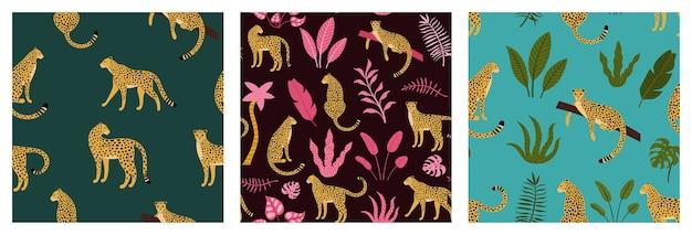 Satz nahtloses exotisches muster mit abstrakten silhouetten des leoparden Premium Vektoren