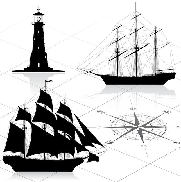 Satz nautische gestaltungselemente Premium Vektoren
