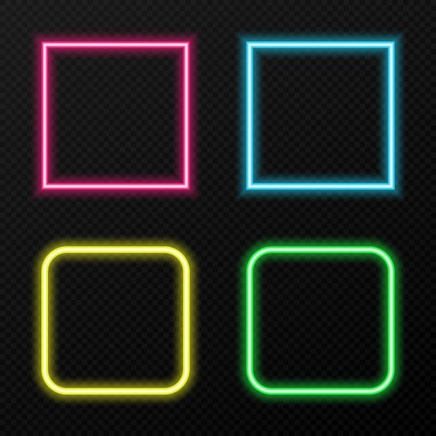 Satz neonrahmen in verschiedenen farben. verschiedene farben von neonlicht png. neon, png-rahmen. rahmen für text. neonlichter. bild. Premium Vektoren