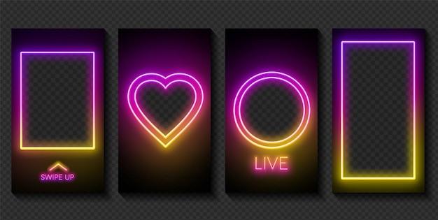 Satz neonvorlagen für geschichten in sozialen netzwerken auf dunklem hintergrund. platz für ein foto oder video. Premium Vektoren