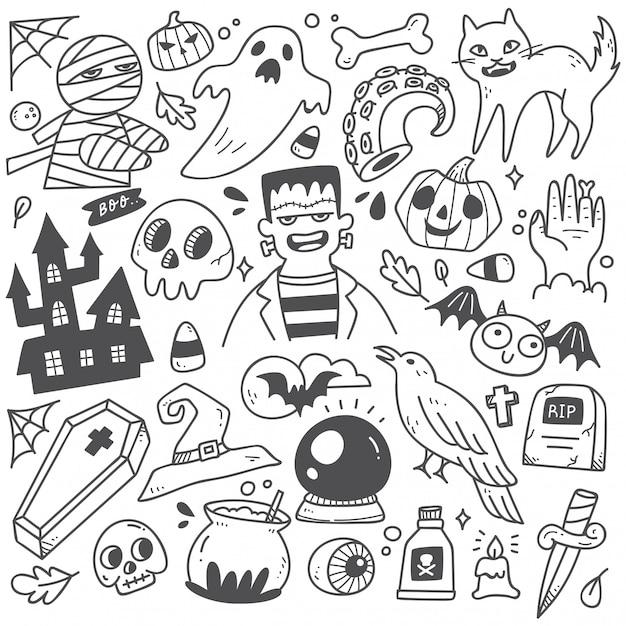 Satz nette halloween-gekritzel Premium Vektoren