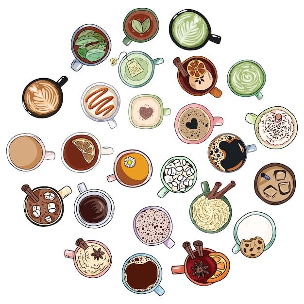 Satz nette leckere getränkegekritzel. tassen tee und kaffee. handgezeichnete cartoon-stil-sammlung von bechern Premium Vektoren