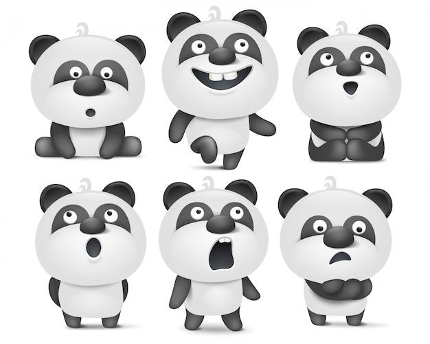 Satz nette pandazeichentrickfilm-figuren mit verschiedenen gefühlen Premium Vektoren
