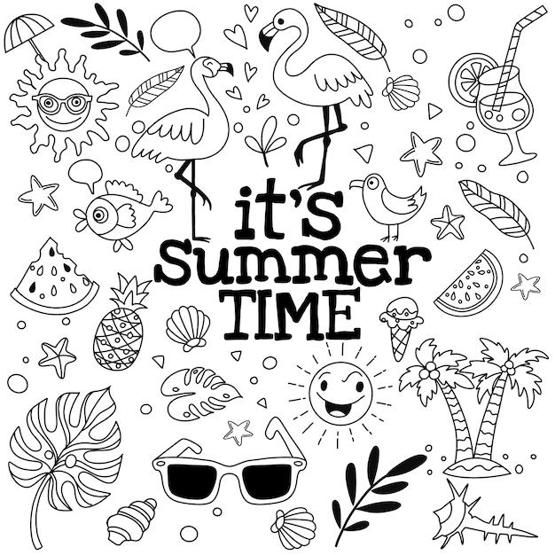 Satz nette sommerikonen: lebensmittel, getränke, palmblätter, früchte und flamingo. helles sommerzeitplakat. Premium Vektoren