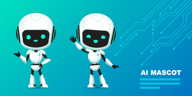 Satz netten roboter-ai-charakters mit stromkreishintergrund Premium Vektoren