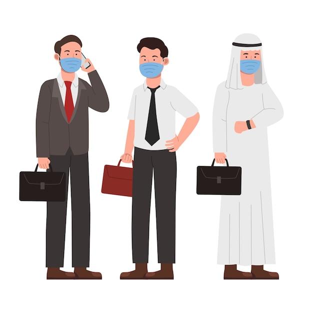 Satz neuer normaler büroangestellter-geschäftsmann, der maske trägt Premium Vektoren