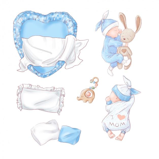Satz neugeborenen-babypartygeburtstag. handzeichnung Premium Vektoren