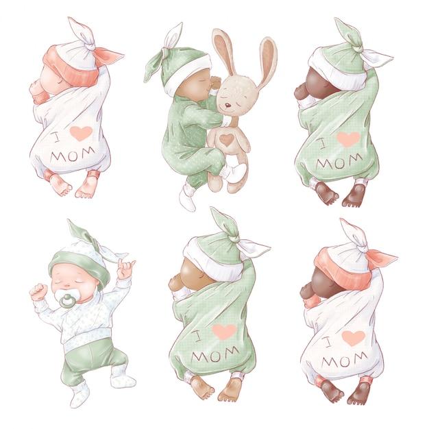 Satz neugeborenen-babypartygeburtstag. Premium Vektoren