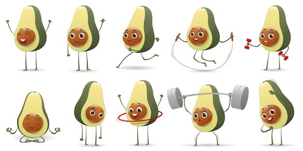 Satz niedliche avocado-zeichen der karikatur Premium Vektoren