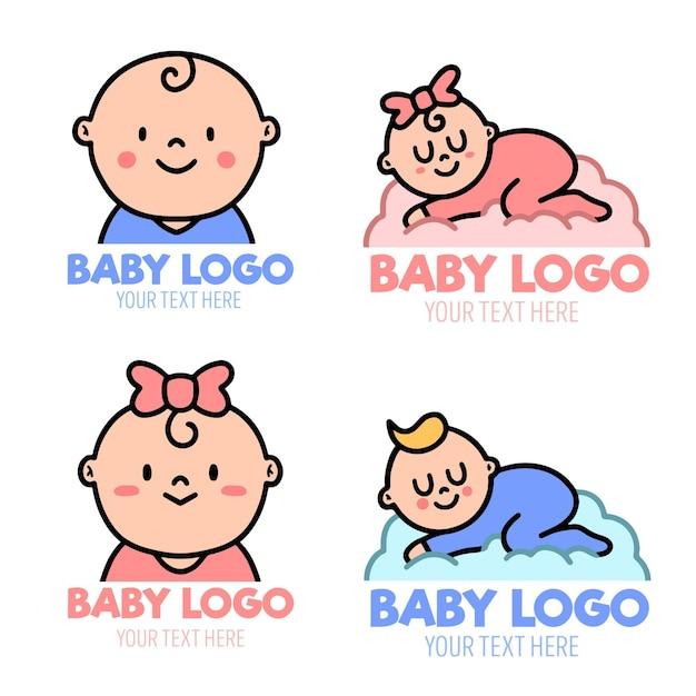 Satz niedliche baby-logo-vorlagen Kostenlosen Vektoren