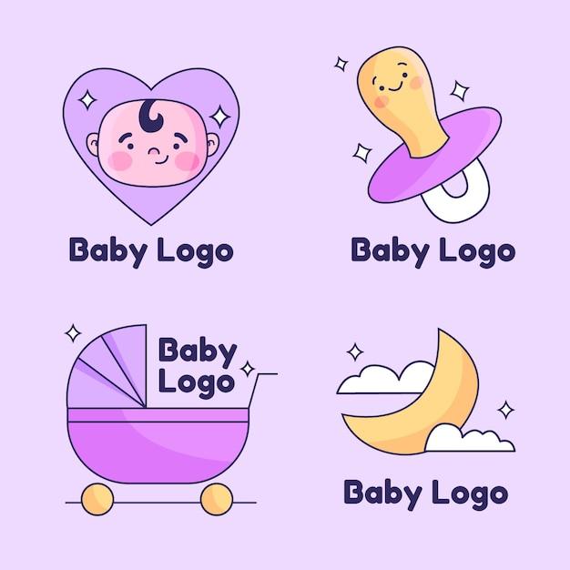 Satz niedliche babylogos Kostenlosen Vektoren