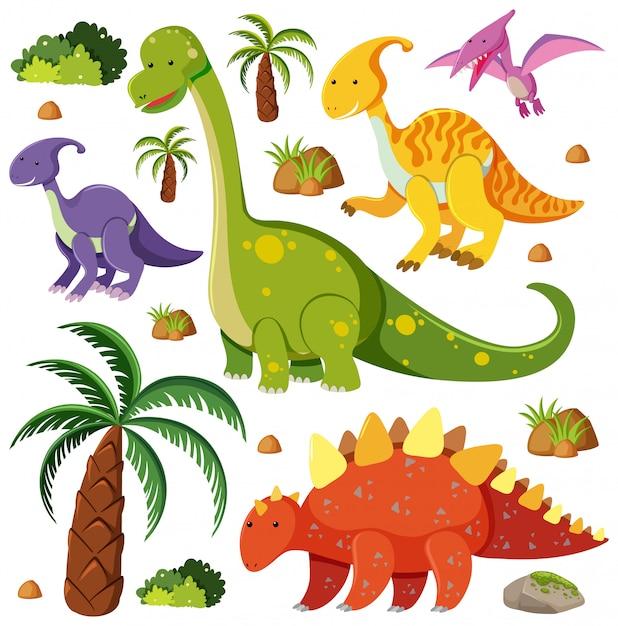 Satz niedliche dinosaurier auf weißem hintergrund Premium Vektoren