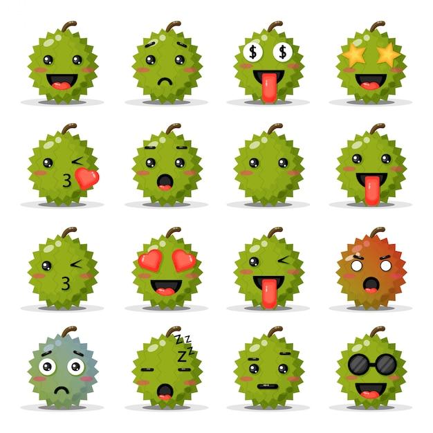 Satz niedliche durians mit emoticons Premium Vektoren