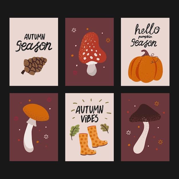 Satz niedliche herbstkarten mit handgeschriebenem text. schöne plakate mit kürbis, pilzen und anderen herbstelementen Premium Vektoren
