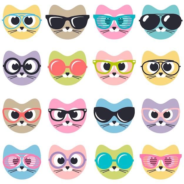 Satz niedliche katzen mit sonnenbrille Premium Vektoren
