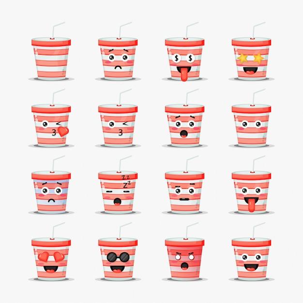 Satz niedliche soda tasse mit emoticons Premium Vektoren