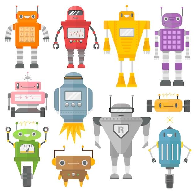 Satz niedliche vintage roboter. Premium Vektoren