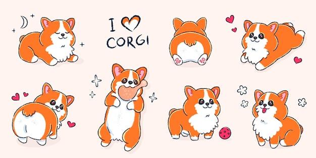 Satz niedlicher walisischer corgi-hund in verschiedenen posen Premium Vektoren