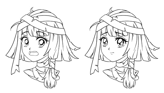 Satz niedliches manga-mumienmädchenporträt. zwei verschiedene ausdrücke. Premium Vektoren