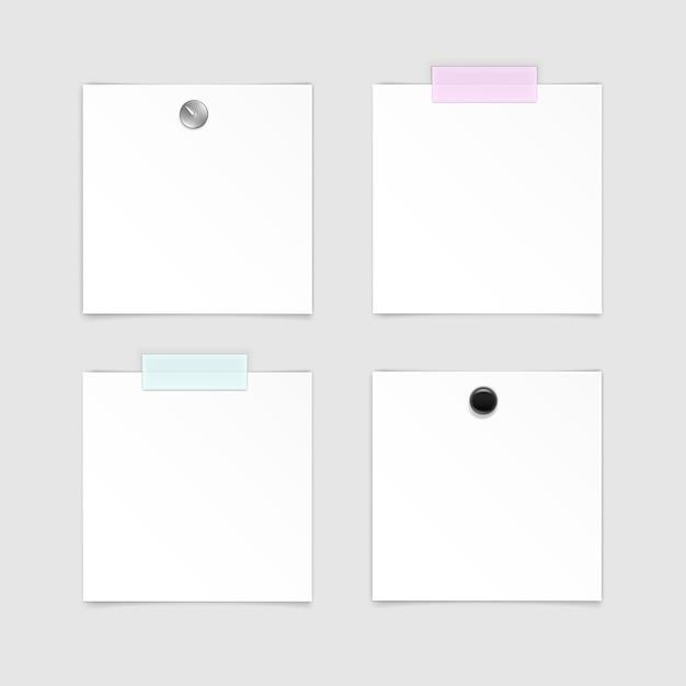 Satz papieraufkleber haftnotiz-post-memo-etikett auf weißem hintergrund Premium Vektoren