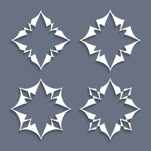 Satz papierelemente stilisierte blumen für Premium Vektoren